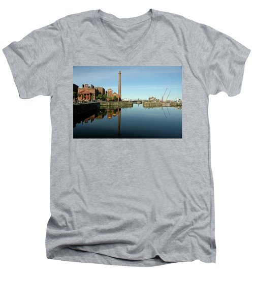 Deep Blue Reflections Men's V-Neck T-Shirt by Jonah  Anderson