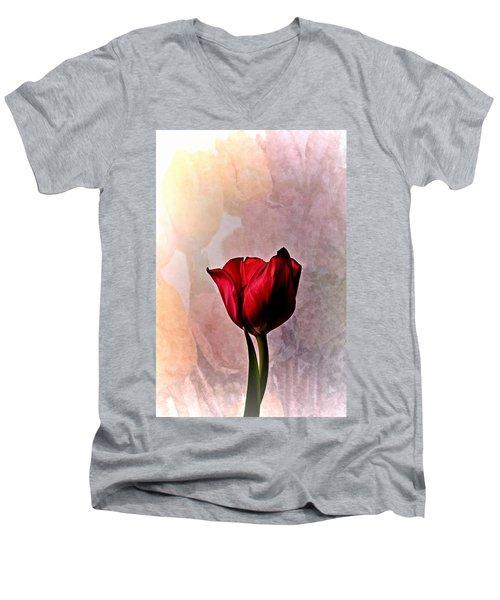Deep Red Tulip On Pale Tulip Background Men's V-Neck T-Shirt