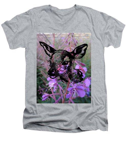 Deer On Flower Men's V-Neck T-Shirt