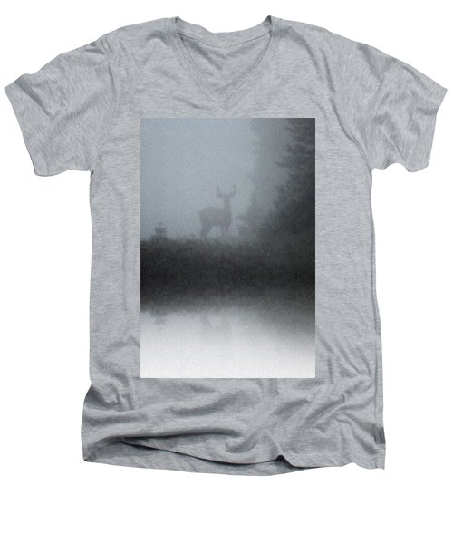 Men's V-Neck T-Shirt featuring the photograph Deer Reflecting by Diane Alexander