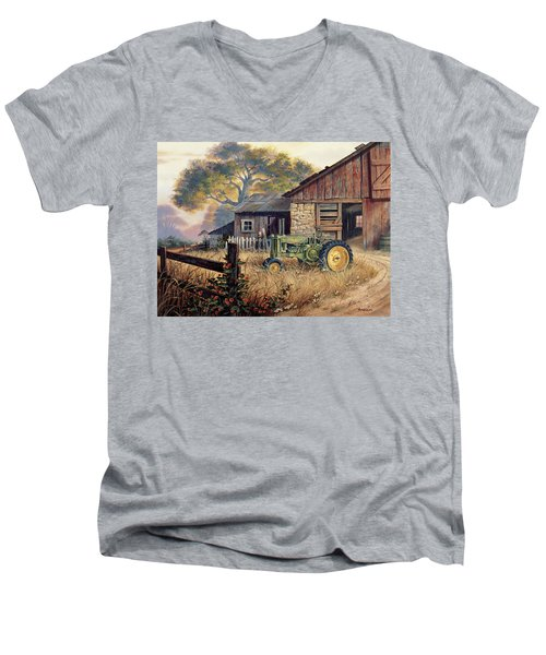 Deere Country Men's V-Neck T-Shirt by Michael Humphries