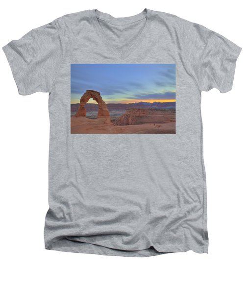 Men's V-Neck T-Shirt featuring the photograph Delicate Arch At Sunset by Alan Vance Ley