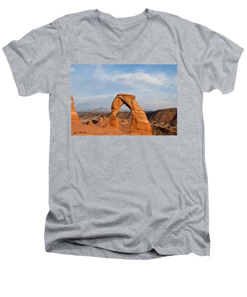 Delicate Arch At Sunset Men's V-Neck T-Shirt by Jeff Goulden