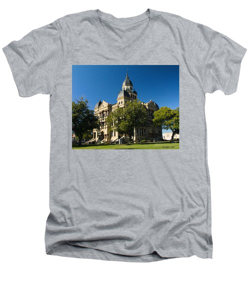 Denton County Courthouse Men's V-Neck T-Shirt by Allen Sheffield
