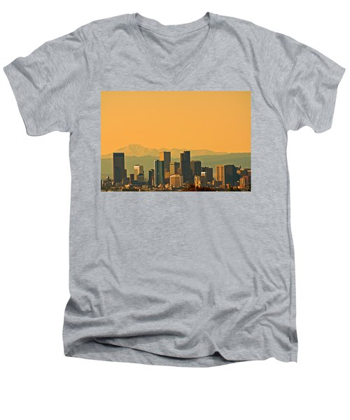 Men's V-Neck T-Shirt featuring the photograph Denver Skyline by Colleen Coccia