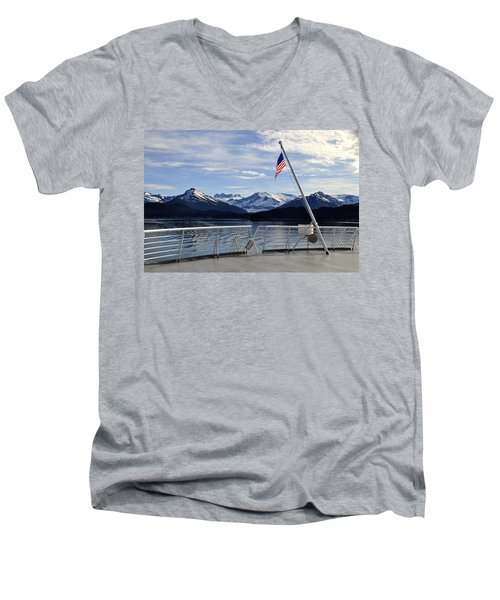 Departing Auke Bay Men's V-Neck T-Shirt by Cathy Mahnke