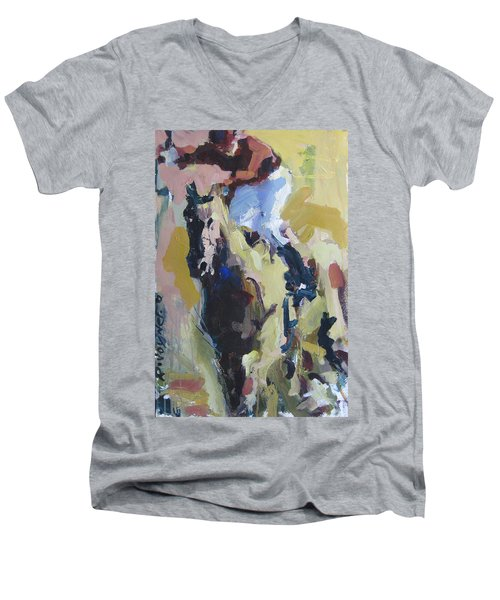 Men's V-Neck T-Shirt featuring the painting Derby Dwellers by Robert Joyner