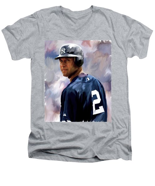 Derek Jeter  Men's V-Neck T-Shirt by Iconic Images Art Gallery David Pucciarelli