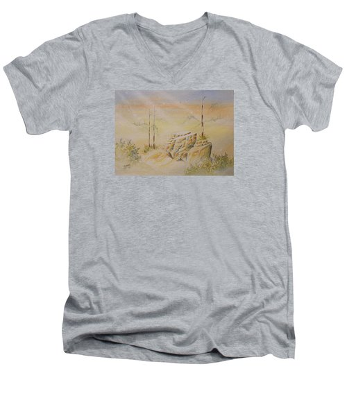 Men's V-Neck T-Shirt featuring the painting Deschutes Canyon by Richard Faulkner