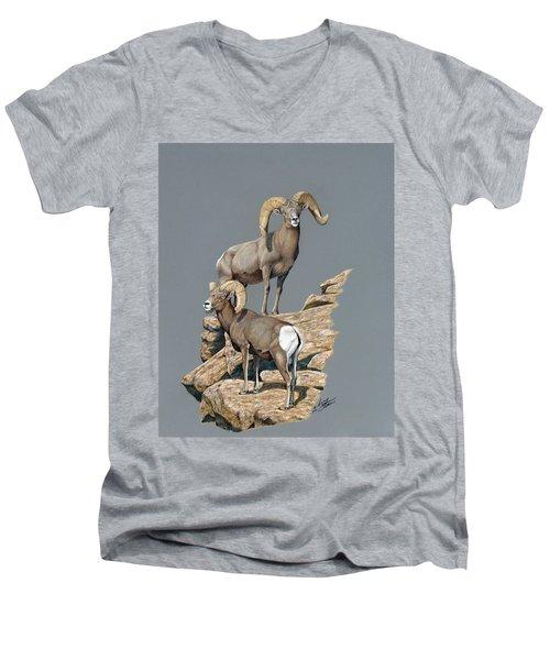 Desert Bighorn Rams Men's V-Neck T-Shirt