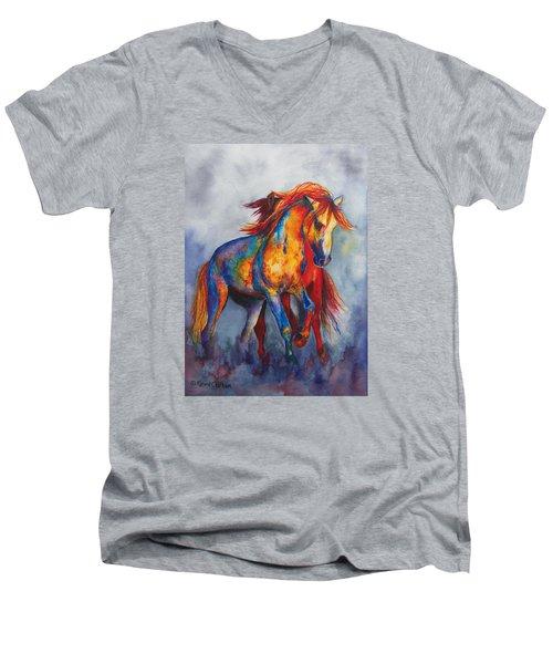 Desert Dance Men's V-Neck T-Shirt by Karen Kennedy Chatham