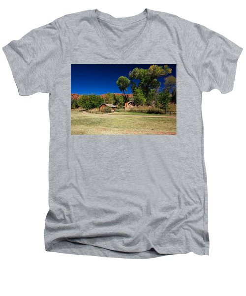 Men's V-Neck T-Shirt featuring the photograph Desert Field by Dave Files