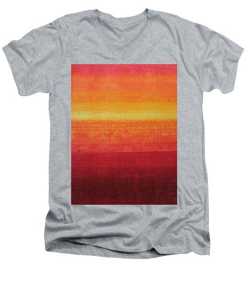 Desert Horizon Original Painting Men's V-Neck T-Shirt by Sol Luckman