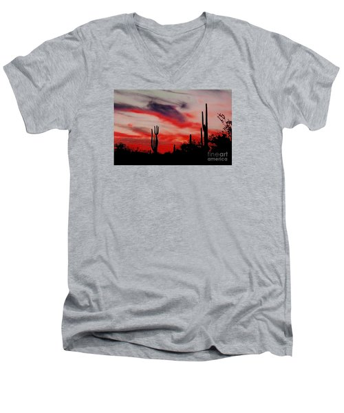 Desert Sunset Northern Lights Version 3 Men's V-Neck T-Shirt by Joseph Baril