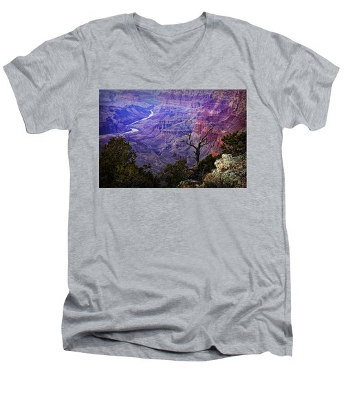 Desert View Sunset Men's V-Neck T-Shirt by Priscilla Burgers