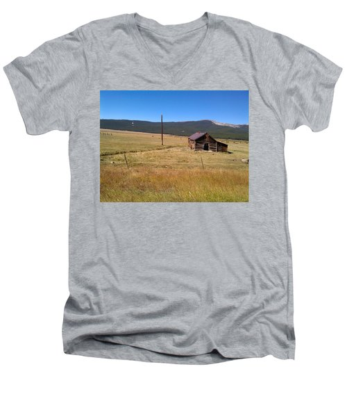 Men's V-Neck T-Shirt featuring the photograph Deserted Cabin by Fortunate Findings Shirley Dickerson