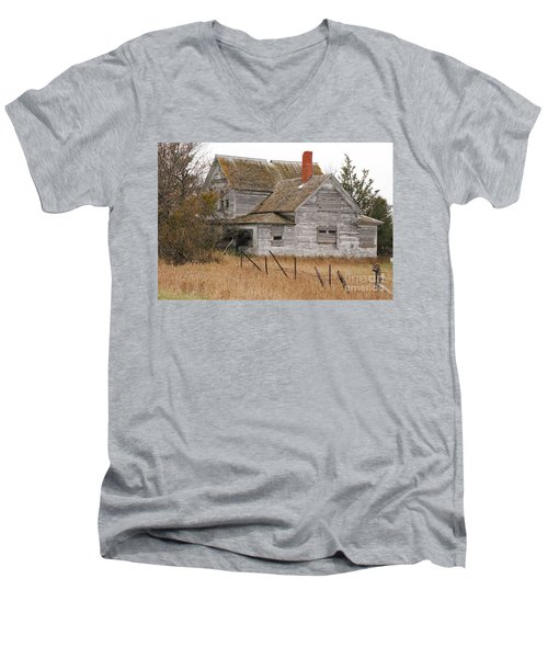 Men's V-Neck T-Shirt featuring the photograph Deserted House by Mary Carol Story