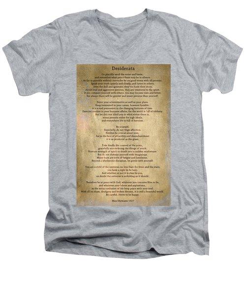 Desiderata - Scrubbed Metal Men's V-Neck T-Shirt