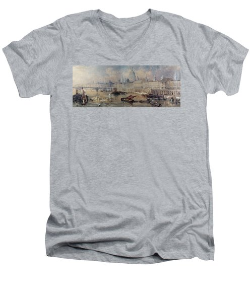 Design For The Thames Embankment Men's V-Neck T-Shirt by Thomas Allom