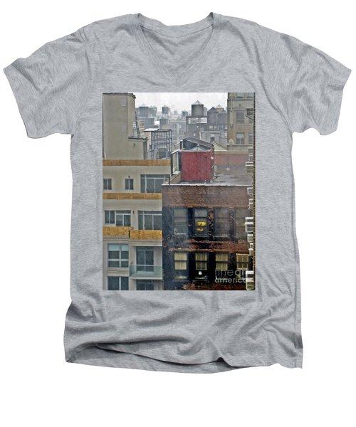 Men's V-Neck T-Shirt featuring the photograph Desk Lamp Through Lit Window by Lilliana Mendez