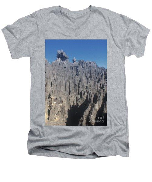 Men's V-Neck T-Shirt featuring the photograph detail of the Tsingy de Bemaraha Madagascar by Rudi Prott