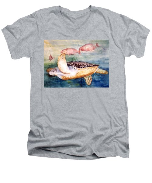 Determined - Loggerhead Sea Turtle Men's V-Neck T-Shirt