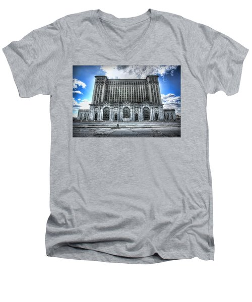 Detroit's Abandoned Michigan Central Train Station Depot Men's V-Neck T-Shirt