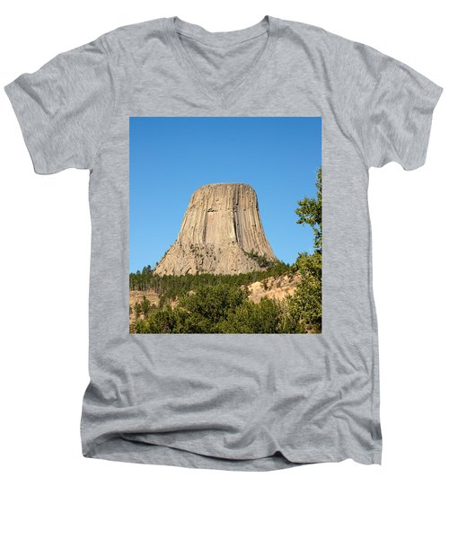 Men's V-Neck T-Shirt featuring the photograph Devils Tower by John M Bailey