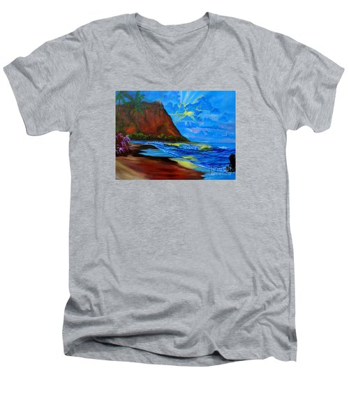Diamond Head Blue Men's V-Neck T-Shirt by Jenny Lee
