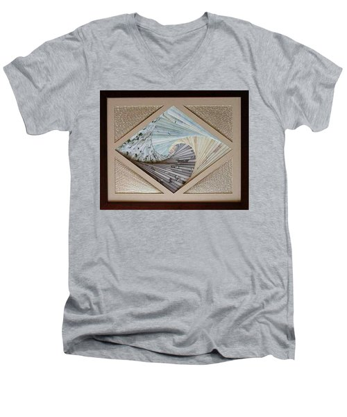 Men's V-Neck T-Shirt featuring the mixed media Diamonds Are Forever by Ron Davidson