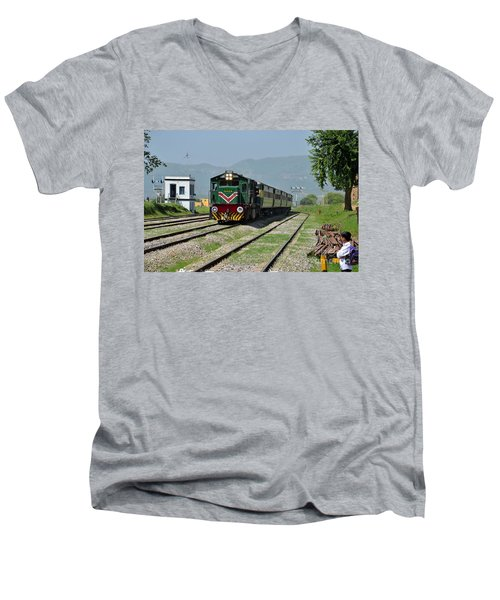 Men's V-Neck T-Shirt featuring the photograph Diesel Electric Locomotive Speeds Past Student by Imran Ahmed