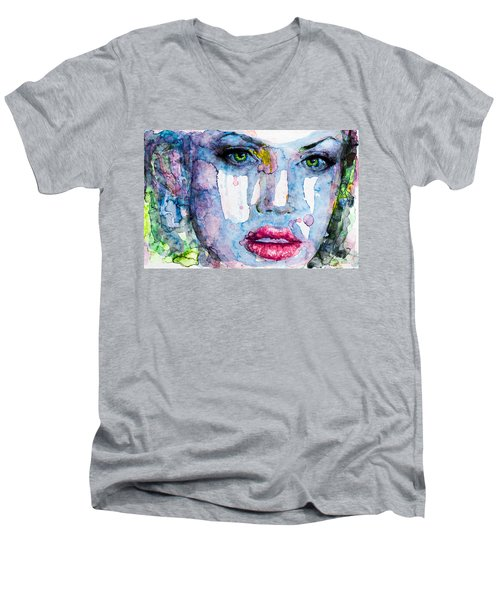Men's V-Neck T-Shirt featuring the painting Different Is Inspiring by Laur Iduc