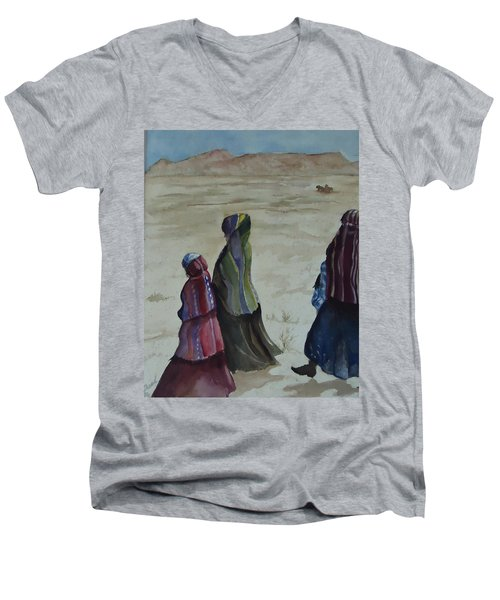 Dineh Leaving The Trading Post Men's V-Neck T-Shirt