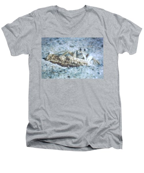 Men's V-Neck T-Shirt featuring the photograph Beach Crab Snacking by Belinda Lee