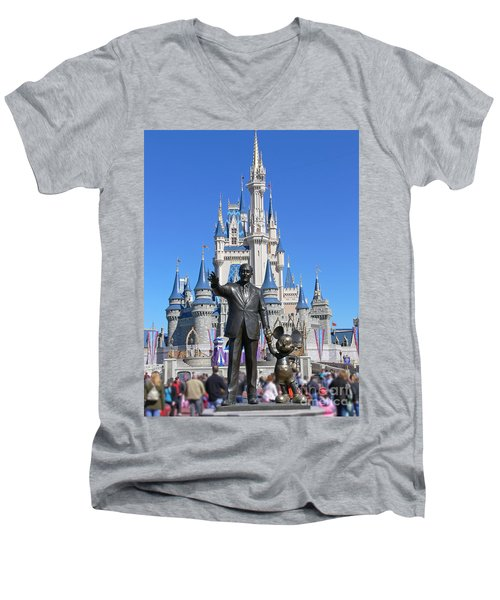 Disney And Mickey Men's V-Neck T-Shirt by Kevin Fortier