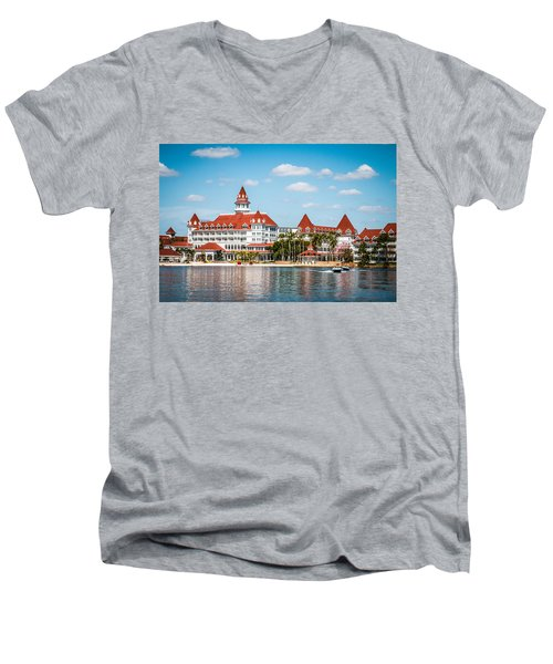 Disney's Grand Floridian Resort And Spa Men's V-Neck T-Shirt by Sara Frank