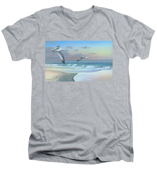 Men's V-Neck T-Shirt featuring the painting Dissolving Time by Mike Brown