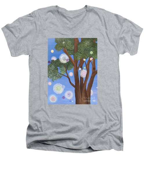 Men's V-Neck T-Shirt featuring the painting Divine Possibilities by Cheryl Bailey