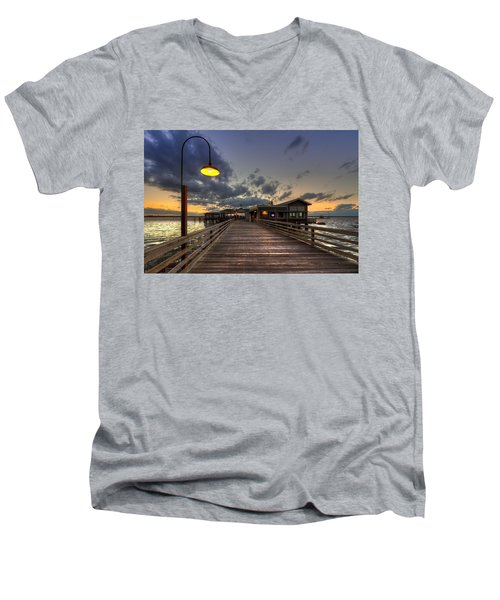 Dock Lights At Jekyll Island Men's V-Neck T-Shirt