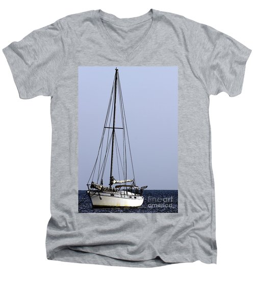 Men's V-Neck T-Shirt featuring the photograph Docked At Bay by Lilliana Mendez