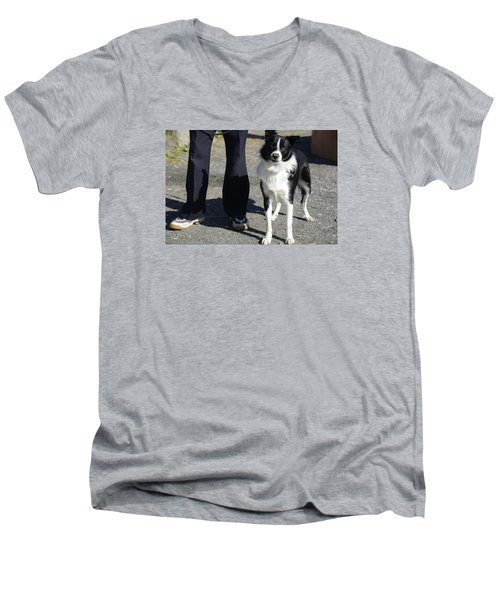 Men's V-Neck T-Shirt featuring the photograph Dog And True Friendship 9 by Teo SITCHET-KANDA
