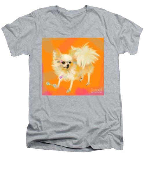 Dog Chihuahua Orange Men's V-Neck T-Shirt