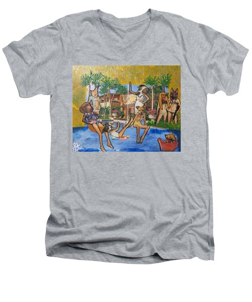 Men's V-Neck T-Shirt featuring the painting Dog Days Of Summer by Lisa Piper