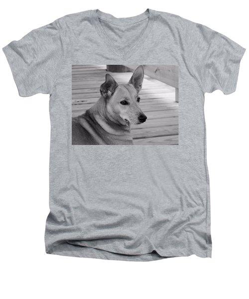 Dog In Black And White One Men's V-Neck T-Shirt