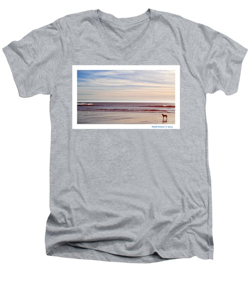 Dog On The Beach Men's V-Neck T-Shirt