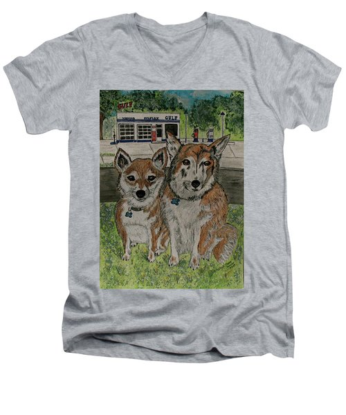 Men's V-Neck T-Shirt featuring the painting Dogs In Front Of The Gulf Station by Kathy Marrs Chandler