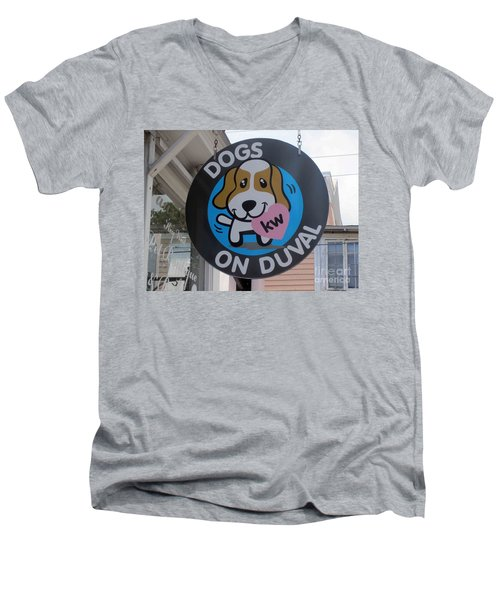 Men's V-Neck T-Shirt featuring the photograph Dogs On Duval by Fiona Kennard