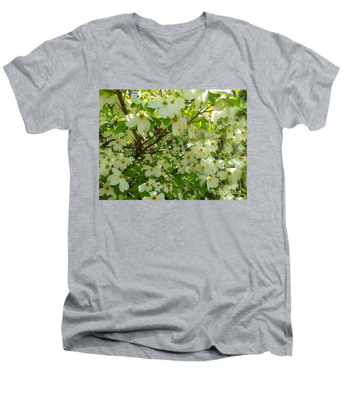 Men's V-Neck T-Shirt featuring the photograph Dogwood Kissed By The Sun by Becky Lupe