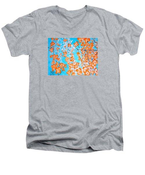 Dogwoods Men's V-Neck T-Shirt by Donna Dixon