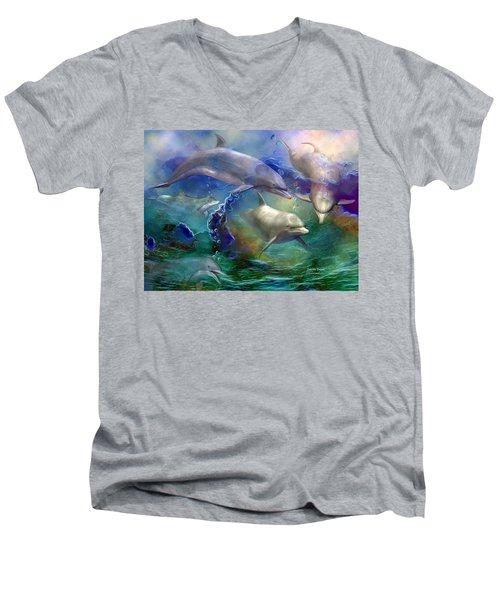 Men's V-Neck T-Shirt featuring the mixed media Dolphin Dream by Carol Cavalaris